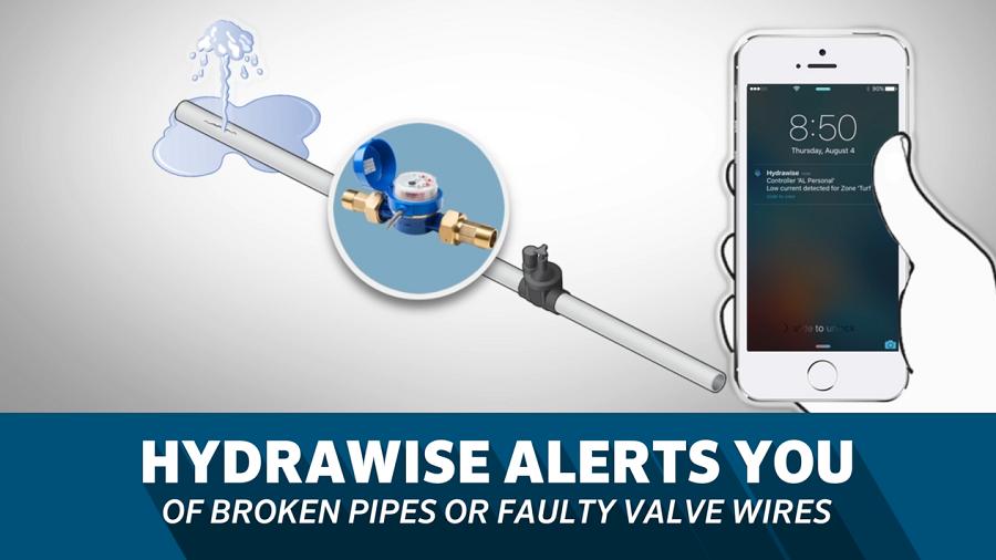 Hydrawise cảnh báo bạn qua thiết bị thông minh nếu có bất kì trục trặc nào ở đường ống hay dây điện